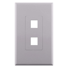Construct Pro™ 2-Port Keystone Wall Plate with Screwless Face (White) CON4002W