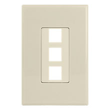 Construct Pro™ 3-Port Keystone Wall Plate with Screwless Face (Ivory) CON4003I