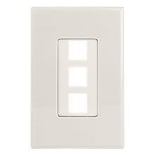 Construct Pro™ 3-Port Keystone Wall Plate with Screwless Face (Light Almond)