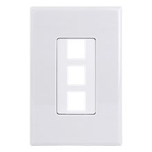 Construct Pro™ 3-Port Keystone Wall Plate with Screwless Face (White)