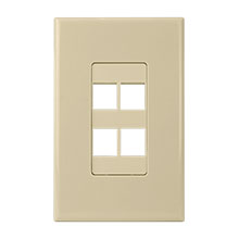 Construct Pro™ 4-Port Keystone Wall Plate with Screwless Face (Ivory) CON4004I