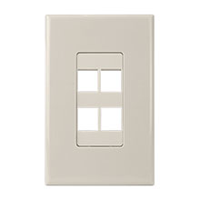 Construct Pro™ 4-Port Keystone Wall Plate with Screwless Face (Light Almond)