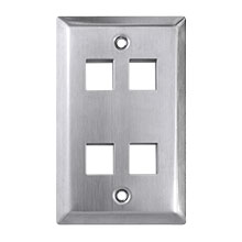 Construct Pro™ 4-Port Keystone Wall Plate (Stainless Steel)