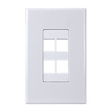 Construct Pro™ 4-Port Keystone Wall Plate with Screwless Face (White) CON4004W