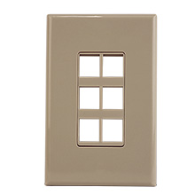 Construct Pro™ 6-Port Keystone Wall Plate with Screwless Face (Ivory) CON4006I