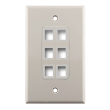 Construct Pro™ 6-Port Keystone Wall Plate with Screwless Face (Light Almond)