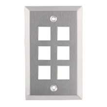 Construct Pro™ 6-Port Keystone Wall Plate (Stainless Steel)