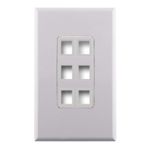 Construct Pro™ 6-Port Keystone Wall Plate with Screwless Face (White) CON4006W