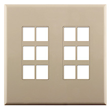 Construct Pro™ 12-Port Keystone Wall Plate with Screwless Face (Ivory) CON4012I