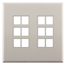 Construct Pro™ 12-Port Keystone Wall Plate with Screwless Face (Light Almond) CON4012LA