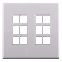 Construct Pro™ 12-Port Keystone Wall Plate with Screwless Face (White) CON4012W