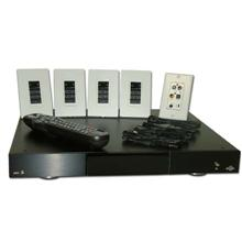 Aton Model DH44KT Digital Audio Router Kit with Router, Wall plate, 4 Emitters, 4 Touch Pads DH44KT