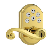 Kwikset SmartCode Lever with Z-Wave; Polished Brass KWIK1003