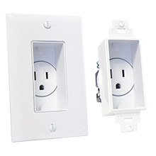Midlite 4641-W Recessed Single Gang Receptacle, white MID2006