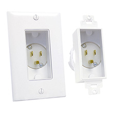 Midlite 4642-W Recessed Single Gang Power Inlet, white MID2007