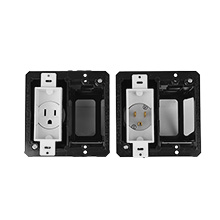 Midlite 2A46-W Double Gang Recessed In-wall Power Kit, white MID2011