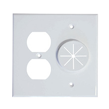 Midlite™ DR2G-GR10-WH Duplex Receptacle and Wireport™ Plate with Grommet (White) MID2023W
