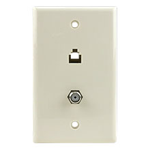 Skywalker Signature Series Wall Plate w/F-81 and Phone, Almond SKY05083A