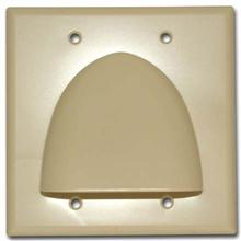 Skywalker Signature Series Double Gang Bundled Cable Wall Plate, Almond