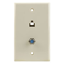 Skywalker Signature Series Wall Plate w/single 3.0ghz F-81 and Phone Connectors, Almond SKY05093A