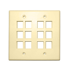 Skywalker Signature Series Keystone Wall Plate for 12 Jacks, Double Gang, Almond