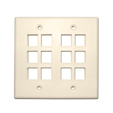Skywalker Signature Series Keystone Wall Plate for 12 Jacks, Double Gang, Ivory SKY052212I