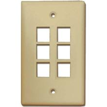 Skywalker Signature Series Keystone Wall Plate for 6 Jacks, Almond