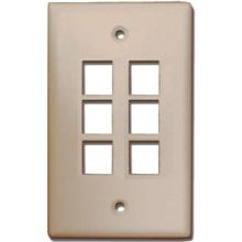 Skywalker Signature Series Keystone Wall Plate for 6 Jacks, Ivory SKY05226I