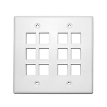 Skywalker Signature Series Keystone Wall Plate for 12 Jacks, Double Gang, White SKY052212W