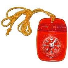 Skywalker Compass with Safety Whistle and Lanyard, Red