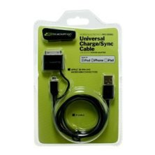 Black 3' Universal Charger with USB-to-30-Pin and MicroUSB Connectors (UCA-366-BL) BKT1006B
